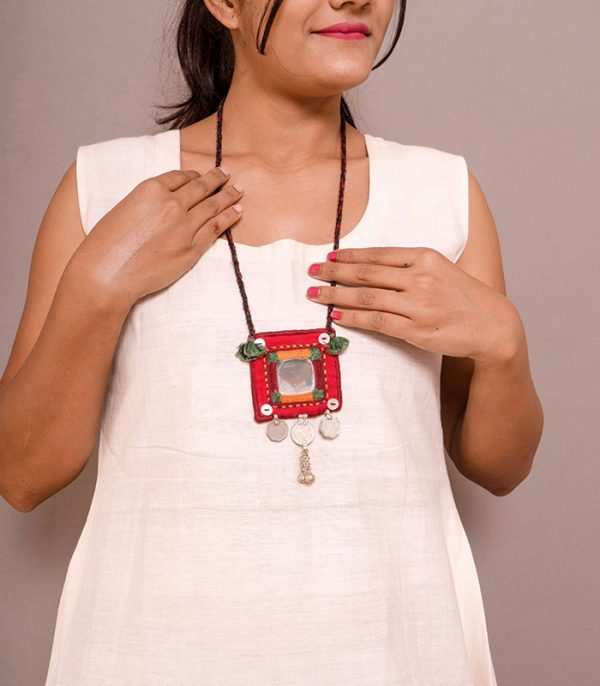 Big square mirror, Three coin Hand Embroidered Necklace