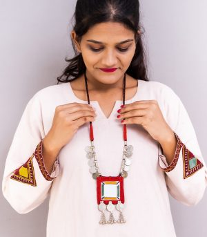 big square mirror, two paisa coin neckles ornament & Hand Embroidered necklece