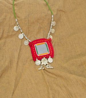 big square mirror, two paisa coin ,sheli metal ornament Hand Embroidered necklace