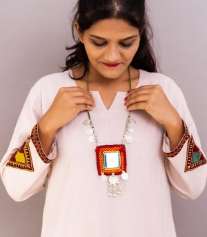 big square mirror, two paisa coin, sheli Metal ornament with Hand Embroidered necklace