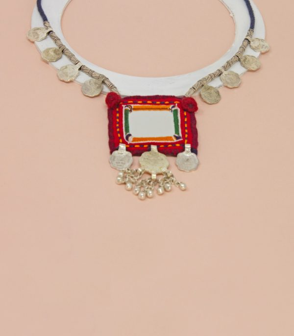 big square mirror, eighth paisa coin ,sheli metal ornament Hand Embroidered necklace