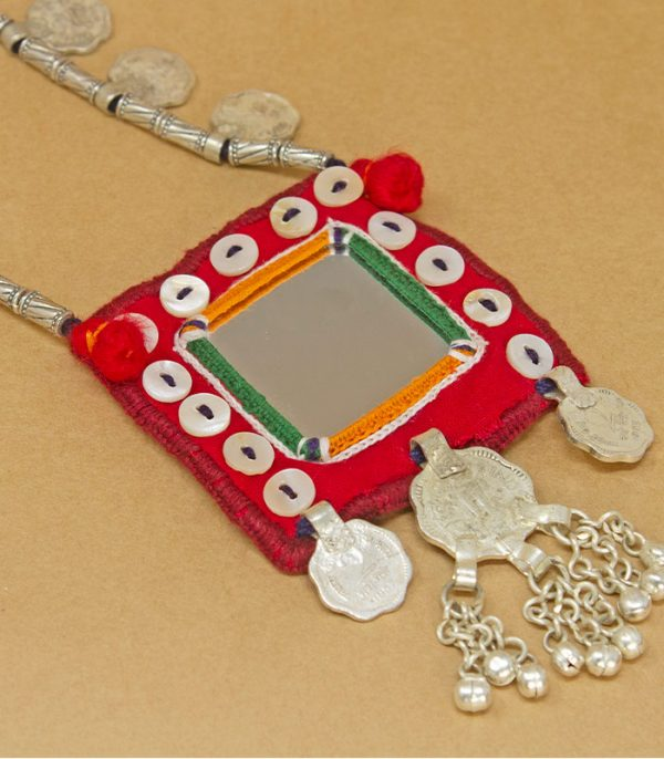 big square mirror, two paisa coin, sheli metal ornament Hand Embroidered necklace
