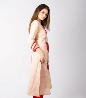 Off-White Cotton Kurti with Red Embroidery