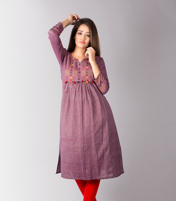 Plum Coloured Kurti with Mirror Embroidery