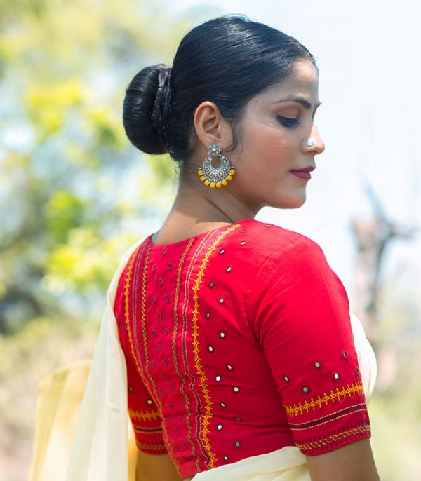 Red Blouse with Embroidery